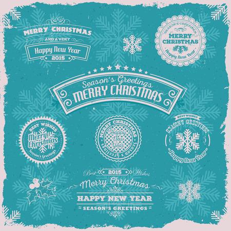 fin de a�o: Ilustraci�n de un conjunto de �poca grunge de feliz navidad pancartas, insignias, marcos para las vacaciones v�spera feliz de a�o nuevo