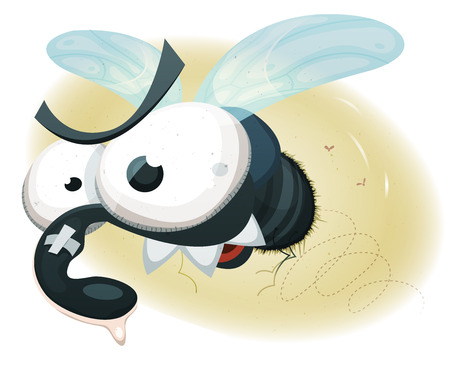 hum: Illustration of a cartoon funny fly buzzing in the air Illustration