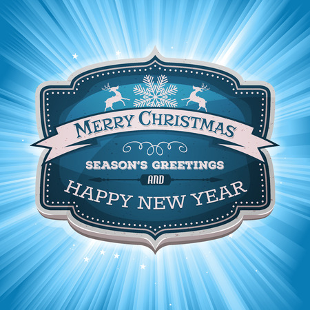 Illustration of a cartoon seasons greetings and happy new year banner on magic starburst background, for winter holidays Vector