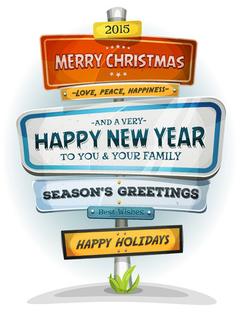 signpost: Illustration of a cartoon comic urban signpost with merry christmas and seasons greetings messages for new year celebration