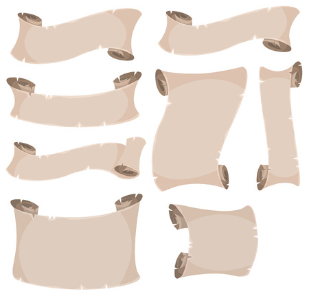 pergamino: Ilustraci�n de un conjunto de dibujos animados antiguo rollo de pergamino, remolino y un rollo de papel Vectores