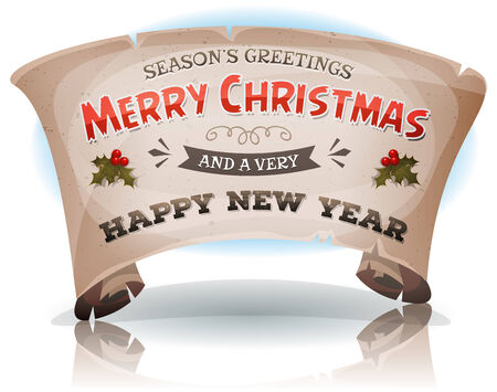 happy new year banner: Illustration of a cartoon seasons greetings and happy new year banner on parchment scroll sign, for winter holidays