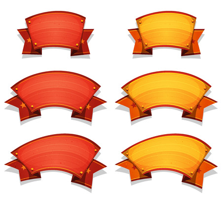Illustration of a set of funny cartoon circus red and yellow banners and ribbons, for carnival, holidays or ui game Vector