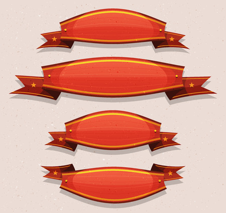 Illustration of a set of funny cartoon circus red banners and ribbons, for carnival, holidays or ui game, with grunge texture