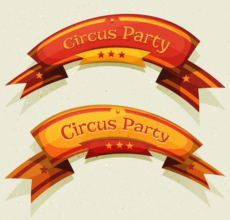 carnaval: Illustration d'un ensemble de dessins anim�s dr�les banni�res cirque du parti et rubans