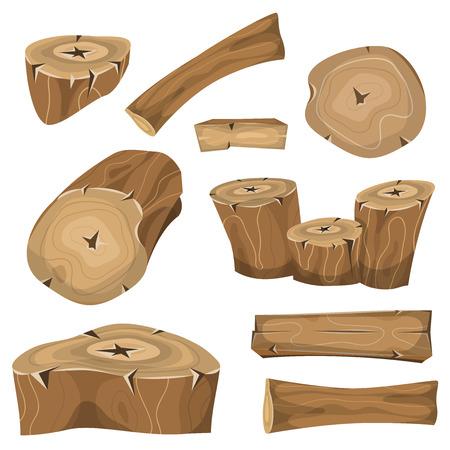 Ilustración de un conjunto de dibujos animados de madera troncos, tablones, estantes, tocón, ramas y troncos para la silvicultura y los iconos de la industria maderera