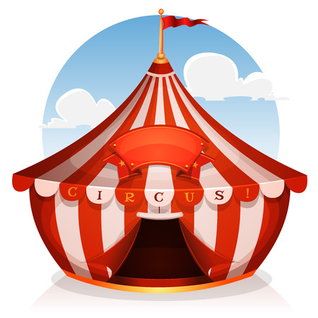 Illustration of cartoon white and red big top circus tent background with marquee or banner on a blue sky background