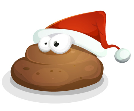 poo: Illustration of a cartoon dog dung character, with santa claus hat for funny happy new year message Illustration