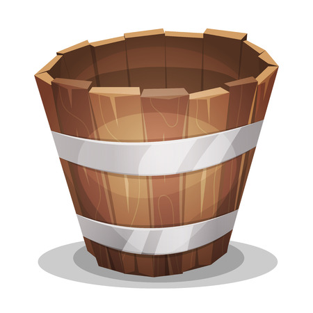wooden bucket: Illustration of a cartoon empty rural wooden bucket with iron strapping
