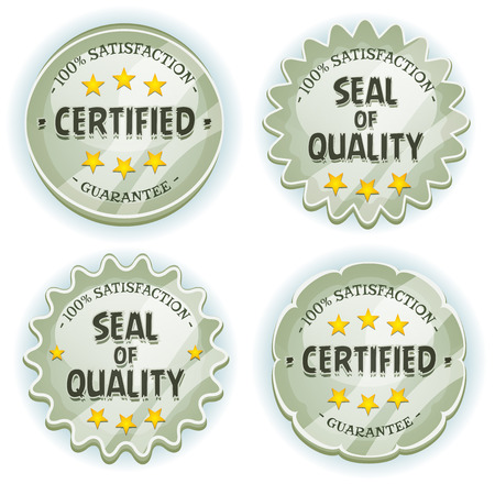 signet: Illustration of a set of glossy and bright cartoon silver awards and quality seals symbols for product advertisement, tablet pc app software or ui game