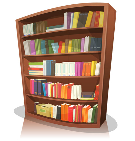 Illustration of a cartoon home, school or library store wooden bookshelf, full of books