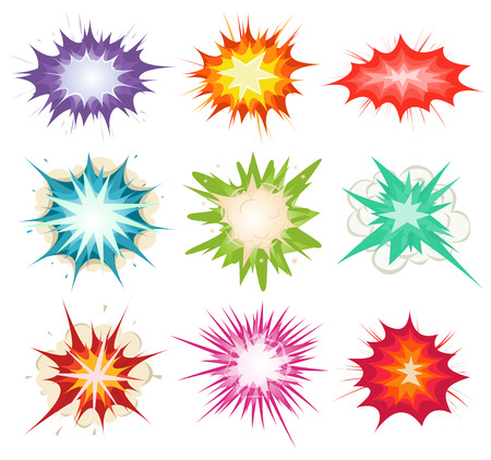 Illustration of a set of comic book explosion, blast and other cartoon fire bomb, bang and exploding symbols, in various colors