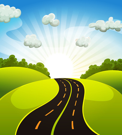 Illustration of a cartoon road driving from fields and meadows landscape in spring or summer season