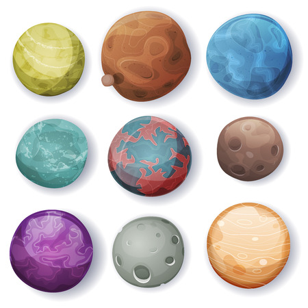 Illustration of a set of various comic planets, moons, asteroid and alien earth globes