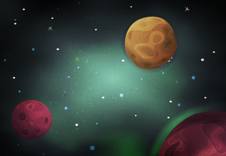 Illustration of a beautiful comic starry space landscape with alien moons, asteroids and  planet for sci-fi ui game