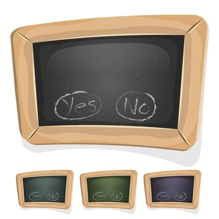 interface elements: Illustration of a cartoon design school education blackboard with buttons and interface elements, for ui pedagogics software or commercial agreement on tablet pc and other devices