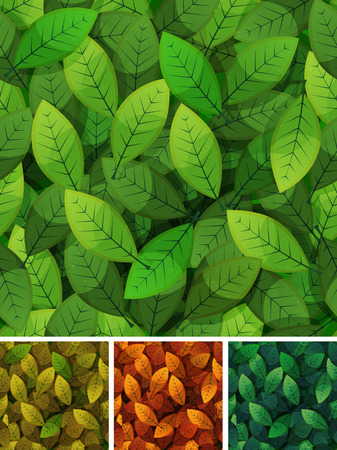 hedge trees: Illustration of a set of seamless backgrounds with spring, summer, winter, fall and autumn seasons leaves for nature wallpaper, with grunge texture
