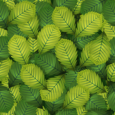 Illustration of a seamless background with spring or summer green hazel leaves, ornament for nature wallpaper on textile and furniture Illustration