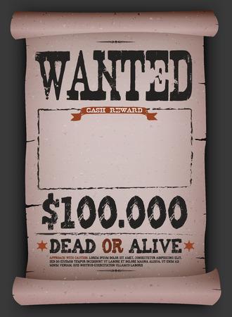 Illustration eines Jahrgangs alte Steckbrief-plakat-Vorlage auf Pergamentrolle mit tot oder lebendig Inschrift Geldprämie wie in weit westlich und Westernfilme Standard-Bild - 36569475