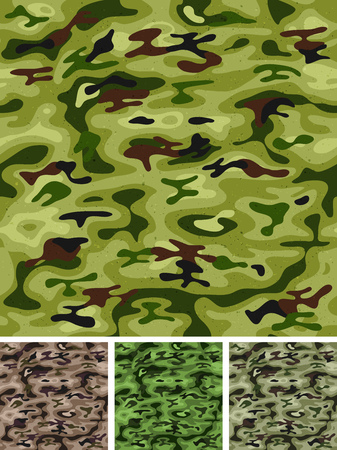 army background: Illustration of a set of grunge seamless military and hunting camouflage with green, black and and brown shades for woodland army background and camo fight clothes wallpaper Illustration