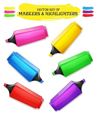 adverts: Illustration of a set of various fluorescent highlighter pen in yellow, pink, red, blue, purple and green Illustration