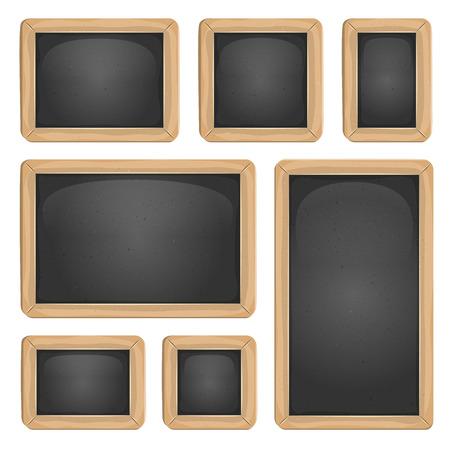 pedagogics: Illustration of a set of cartoon design school education blackboard in various sizes and shapes Illustration