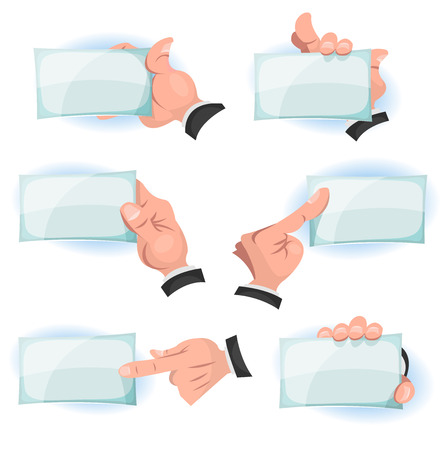 index card: Illustration of a set of funny cartoon hands and fingers holding and showing business and company id cards and blank signs, with copy space for your brand or message