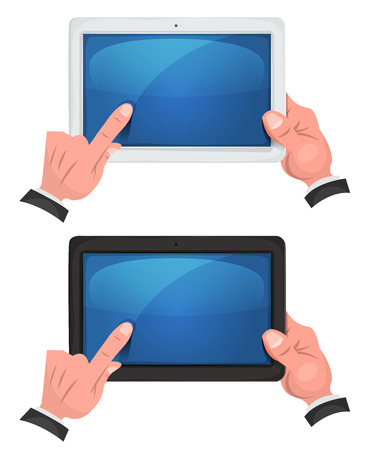 tactile: Illustration of a set of cartoon hands and fingers holding and using tactile touch screen on digital tablet pc, with white or black frame Illustration