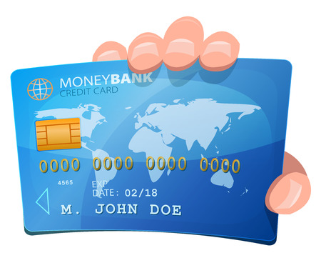 holding credit card: Illustration of a cartoon human hand holding credit card sample