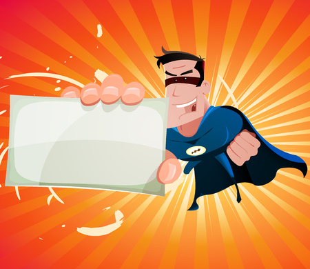 super hero: Illustration of a cool cartoon super hero holding vcard sign