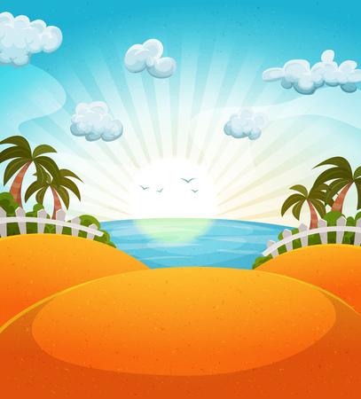 sol caricatura: Ilustraci�n de un paisaje de la playa del oc�ano de dibujos animados de verano con palmeras y sol brillante