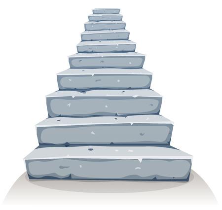 Illustration d'une bande dessinée drôle rock et escalier de pierre pour le château ou ancienne construction de la maison