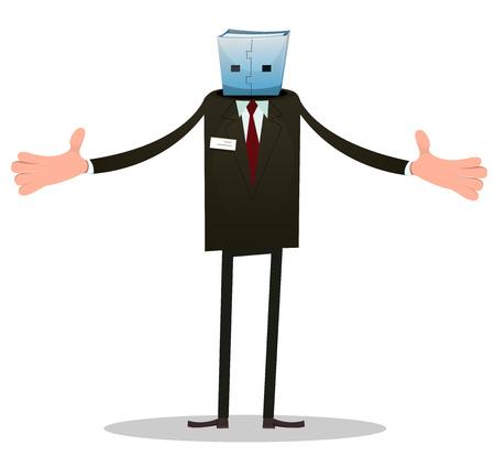 Illustration of a cartoon funny headless usb man character, politician or businessman robot Vector