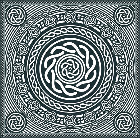 抽象的な黒と白のケルト族のマンダラ背景のイラスト