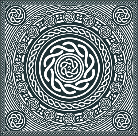 Illustration of an abstract black and white celtic mandala background