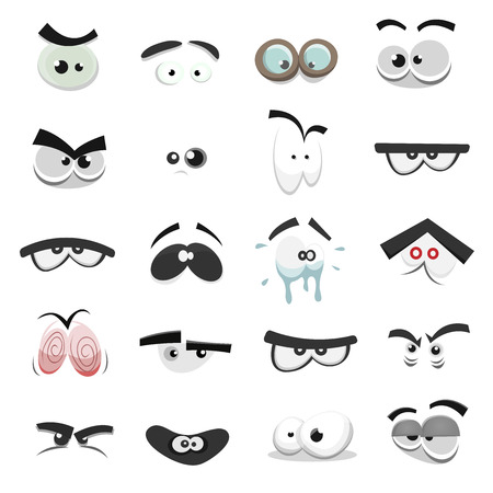 Illustration of a set of funny cartoon human, animals, pets or creature's eyes with various expressions and emotions, from fear to joy, happiness, sadness, surprise, boring and angry Vettoriali