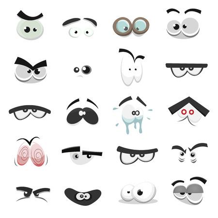 Ilustración de un conjunto de recursos humanos de divertidos dibujos animados, animales, mascotas o los ojos de la criatura con diversas expresiones y emociones, del miedo a la alegría, la felicidad, la tristeza, sorpresa, aburrido y enojado
