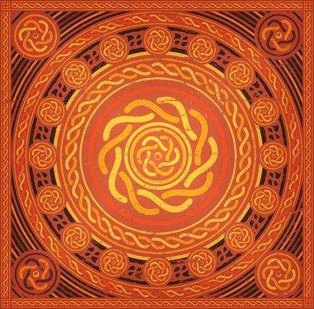 celtic background: Illustration of an abstract grunge and retro celtic mandala background