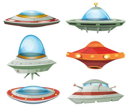 Ilustración de un conjunto de dibujos animados divertido del UFO, nave espacial no identificado y naves espaciales de los invasores extranjeros, con diferentes formas futuristas Vectores