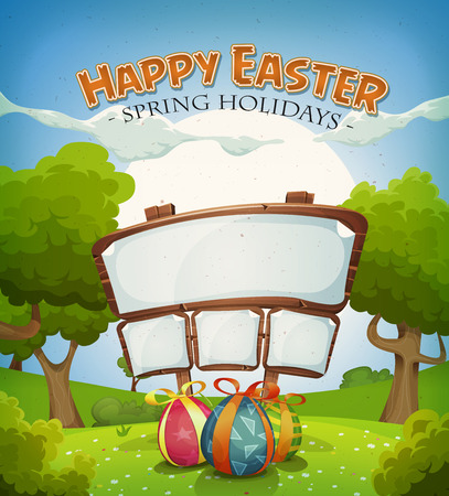 announcement: Illustration of a cartoon happy easter holidays background in spring or summer landscape season, with chocolate eggs gifts and announcement wood sign for wishes