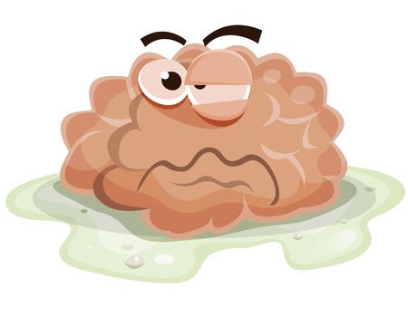 Illustratie van een grappige cartoon zieke en beschadigde menselijk brein orgel karakter, badend in het braaksel en ziek worden na het virus of gif eten