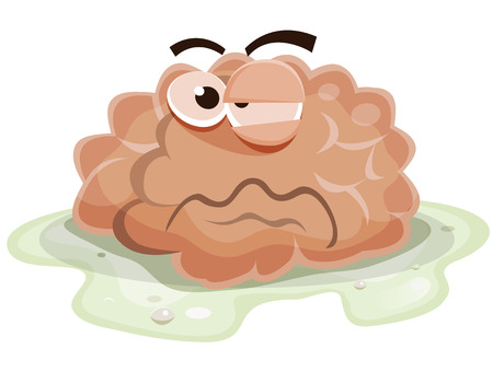 Illustration of a funny cartoon sick and damaged human brain organ character, bathing into vomit and getting ill after virus or poison eating