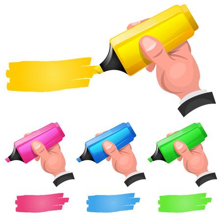 형광 하이 라이터를 들고 만화 남자 손의 집합의 그림 할인 쿠폰 코드를 보여주는, 노란색, 분홍색 및 녹색 팁 펜을 느꼈다