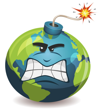 Illustration of a cartoon earth planet bomb character, angry and furious, about to explode with burning wick, isolated on white