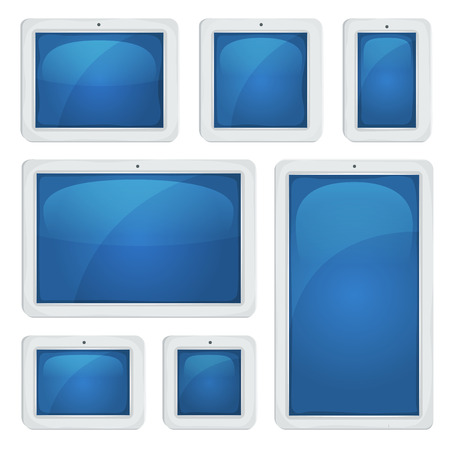 tactile: Illustration of a set of horizontal and vertical tactile touch screen digital tablet pc, with white frame, for responsive design pictures
