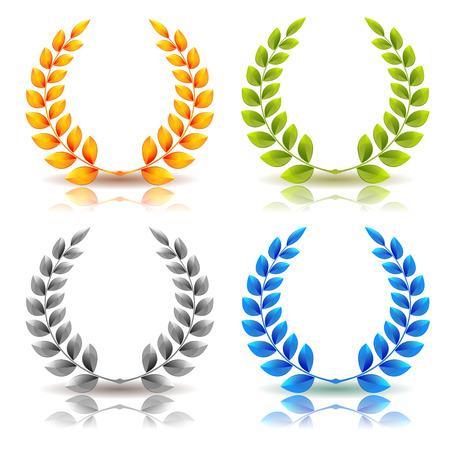 Ilustración de un conjunto de elegante premios simples corona de laurel y coronas, en oro, hojas verdes, plata y diamantes en el fondo blanco Ilustración de vector