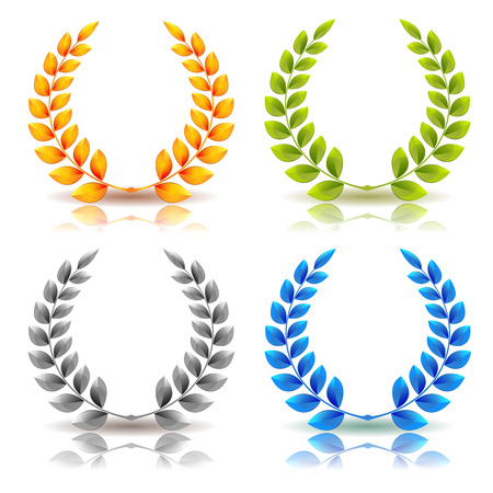 Illustration of a set of elegant simple awards laurel wreath and crowns, in golden, green leaves, silver and diamond on white background