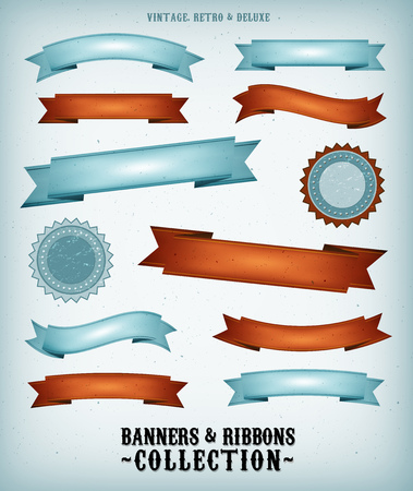 deluxe: Illustration of a collection of vintage blue and red retro banners, signs and scrolls with grunge texture and deluxe style for fourth of july national holidays Illustration
