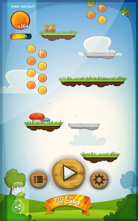 game design: Illustration of a funny spring graphic jump game user interface background, in cartoon style with basic buttons and functions, status bar, vintage retro background, for wide screen tablet