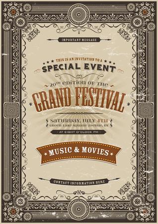 Illustratie van een vintage festival poster achtergrond met verschillende elegante bloemmotieven, frames, banners, grunge textuur en retro design Stock Illustratie